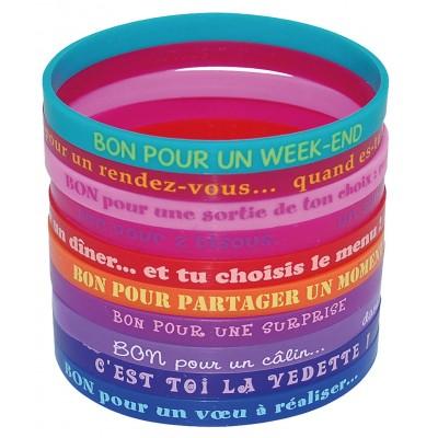 """10 bracelets silicone """"Bon pour"""""""